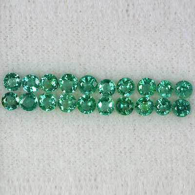 3.02 Cts Natural Green Emerald Round Cut Lot 10-Pairs Zambia Untreated 3.5 mm $