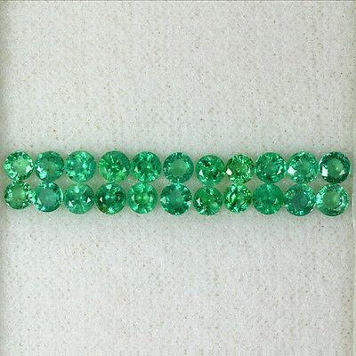 3.58 Cts Natural Green Emerald Round Cut Lot 11-Pairs Zambia Untreated 3.5 mm $