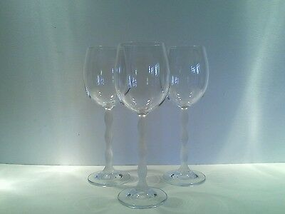 3 x Vintage Wine Glasses with Frosted Wave Stems