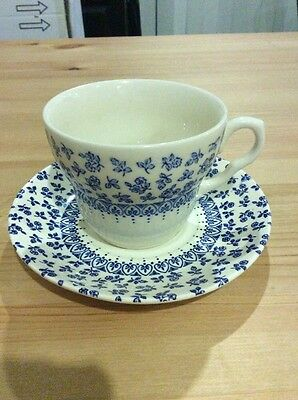 England Ironstone Provence Blue Tea Cup And Saucer