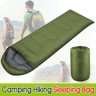 3 Season Single Adult Camping Hiking Case Envelope Sleeping Bag Green
