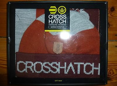 Crosshatch Matching Mens Hat And Scarf Gift Box Set In Port New