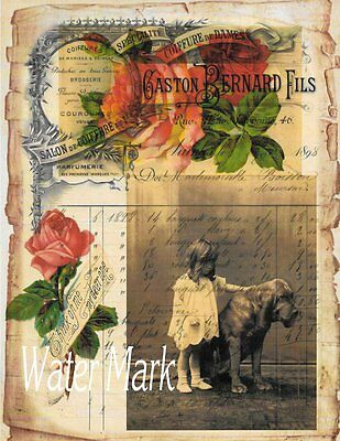 Blood Hound Little Girl French Ledger Roses*great One *fabric Block *8X10 Inches