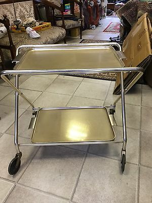 Vintage Two Tier Tea Foldable Trolley With Removable Tray