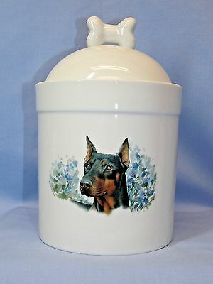 Doberman Pinscher Cropped Dog Porcelain Treat Jar Fired Decal on Front 8 In Tall