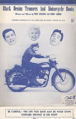 Vintage 1955 Black Denim Trousers & Motorcycle Boots Safety Song Sheet Music
