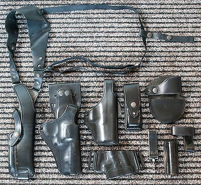 Rare Police Military Sas Issue Pwl Price Western Leather Glock 17 Holster Lot