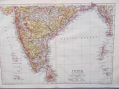 Map Southern India & Ceylon. 1910. Britannica Atlas. Sri Lanka Original