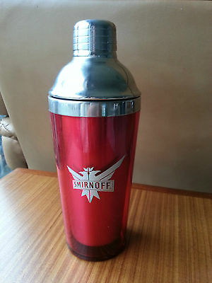 "Smirnoff Red stainless steel Cocktail Shaker 9"" Very Good Condition!"
