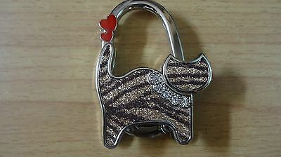 Brown Cat With Two Red Hearts Handbag Hook Brand New