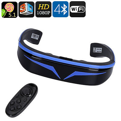 3D Smart Video Glasses - 98 Inch Virtual Display, 1080P, Google Play, Quad Core