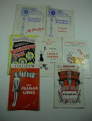 7 Vintage London Theatre Programmes 1950/60's including My Fair Lady Advertising