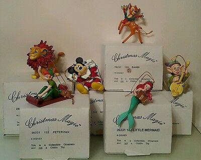 Set of 6 Disney Christmas Magic Tree Hanging Figurine Ornament Collectible