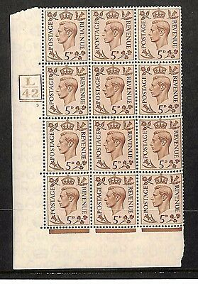 SS128 GB KGVI Cylinder Block L42 12 Stamps Unmounted Mint UM MNH