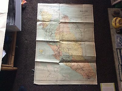 Vintage Folding Cloth Backed Map Malaya 1948