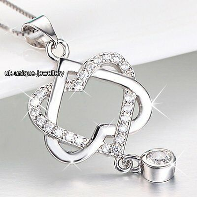 NEW 925 Silver Crystal Diamond Heart Necklace Xmas Gifts For Her Lady Girl Women