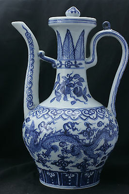Chinese Blue And White Dragon Ewer