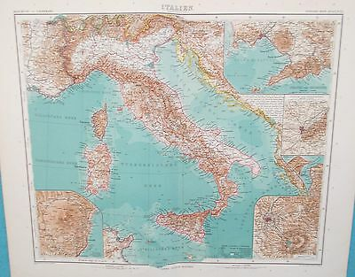 Map of Italy. 1909. Stieler Atlas. Perthes. Original