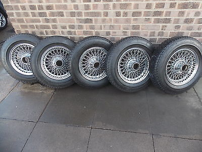 5 x Mark 2 Jaguar wire wheels with 4 good Michelin tyres