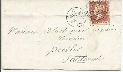 POSTAL HISTORY = 1864 envelope from torquay to peebles scotland~ see scan [#275]