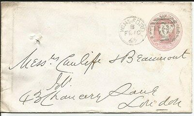 POSTAL HISTORY = 1865 embossed 1d envelope ~ see scans [#276] winsford to london