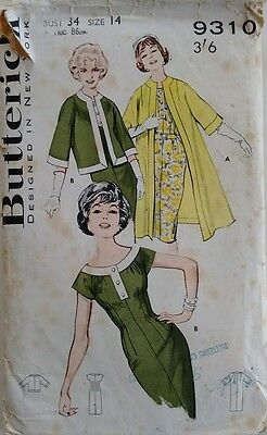 Vintage 60's Butterick 9310 Wardrobe Pattern Jacket, Coat and Dress Suit