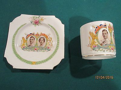 """AYNSLEY 1937 GEORGE VI CORONATION :  CUP and RARE SQUARE 6"""" PLATE; MINT"""