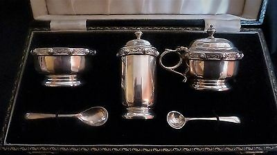 George VI Hallmarked Cased Silver Cruet Set with Liners & spoons by Adie Bros