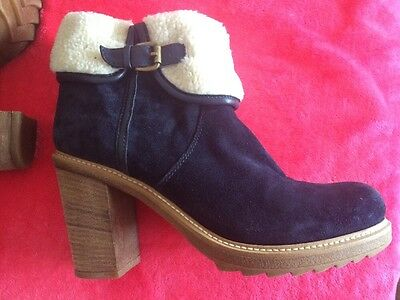New Women's Minelli Italian Leather Blue Suede Ankle Boots Size 40 7