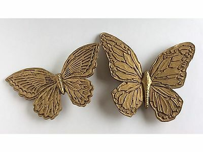 Vintage 1967 Homco Gold Plastic Butterflies Pair Hanging Wall Decor Home Decor