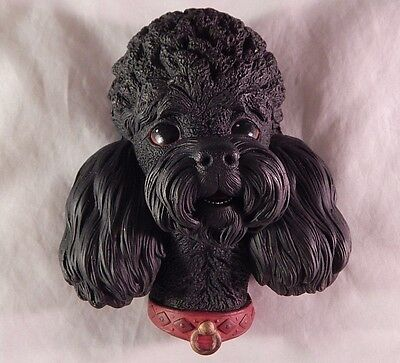 Vintage Bossons Chalkware England Black Poodle Dog Head Wall Plaque 1968