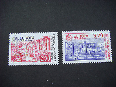 Andorra French Mnh 1990 Europa Post Office Buildings Sg F427-F428 Cv £18.50