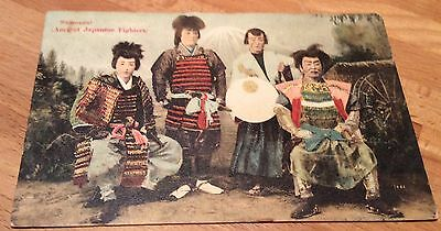 Antique Early 1900s Japanese Samourai Fighters Postcard RARE