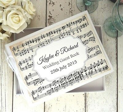 Personalised Wedding Guest Book In Box~ White Vintage Rustic Decor Music Notes