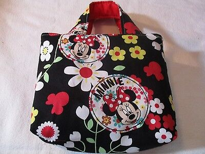 """Kids~""""MINNIE MOUSE-flowers""""~Handmade Tote Bag~Girls~Reversible~Purse~BRAND NEW"""