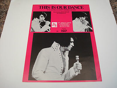 Elvis Presley Sheet Music This Is Our Dance 1970 Excellent Condition