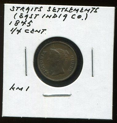 ** Straits Settlements ( East India Co. )1845 , 1/4 Cent **