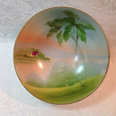Antique NIPPON 3 Footed Bowl - Hand Painted Lakeside Cottage Scene - Gold Gilt