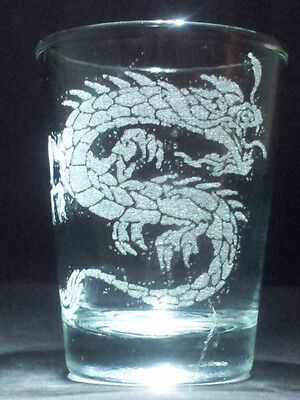 Dragon etched shot glass. Can be personalized. Different designs available!!
