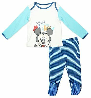 Baby Boys Disney Mickey Mouse Pyjamas With Feet 2 Sizes Offical Merchandise Pjs