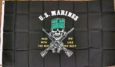 Us Marines Mess With Best Die Like Rest Black Military Flag 3'x5' Outdoor Indoor