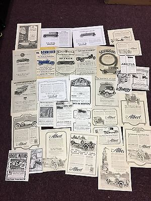Large Collection of 20 Pre 1920's Vintage Car Adverts Schneider, Spyker, ABC etc