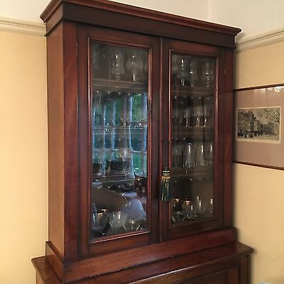 Victorian Mahogany Glazed Bookcase With Key
