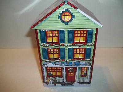 Christmas Embossed Tin Metal Village Building House Storage container w/ Cover