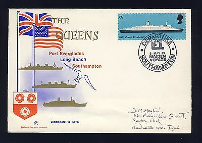 Q E II - MADIEN VOYAGE COVER OF QE2 WITH DEPARTURE POSTMARK DATED 2nd MAY 1969