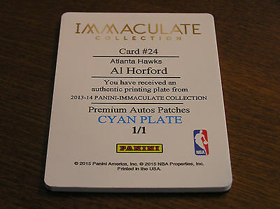 2013-14 Panini Immaculate Collection #24 Al Horford Cyan Plate 1/1 !!! Hawks