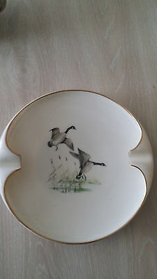 VTG Lenox Ashtray Round in Creamy Ivory Canadian Geese Flying w Cattails