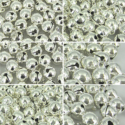8 10 12 14 16 silver Plated jingle bells christmas copper bells beads charms