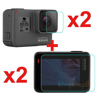 2Pcs LCD Screen + Lens Tempered Glass Protector Film for GoPro Hero 5 Sport Cam