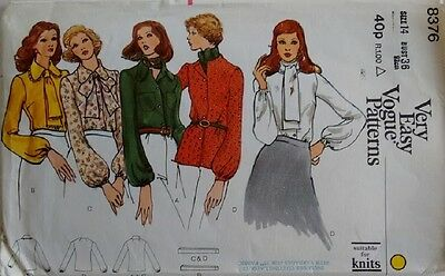 Vintage 70's Vogue Pattern 8376 Shirt Blouse and Bow Tie Scarf 4 Options
